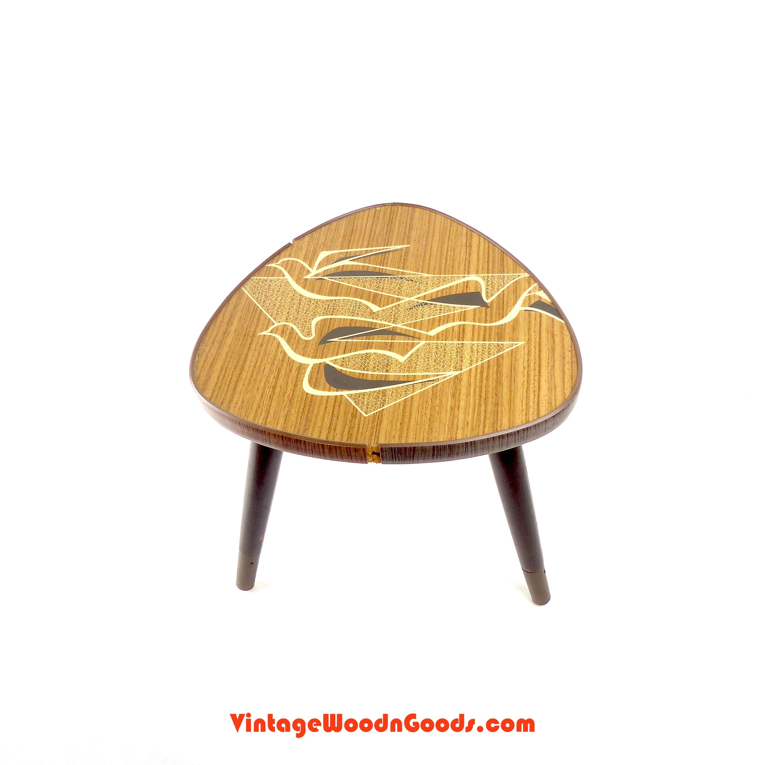 Terrific 1950S Tripod Plant Stand With Birds Pattern Side Table Lamtechconsult Wood Chair Design Ideas Lamtechconsultcom