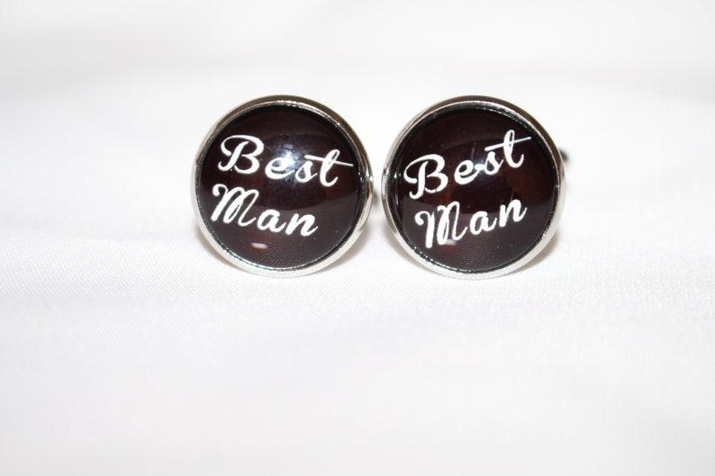 Black /& Glass Men/'s Wedding Cufflinks in various messages