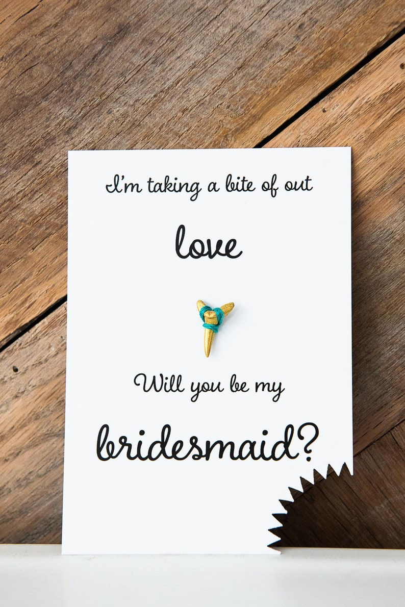 Eco-friendy Will You Be My Bridesmaid Card Beach Wedding Sharks Tooth Bridesmaid Ask Gold Sharks Tooth Boho Coastal Chic Wedding Elopement