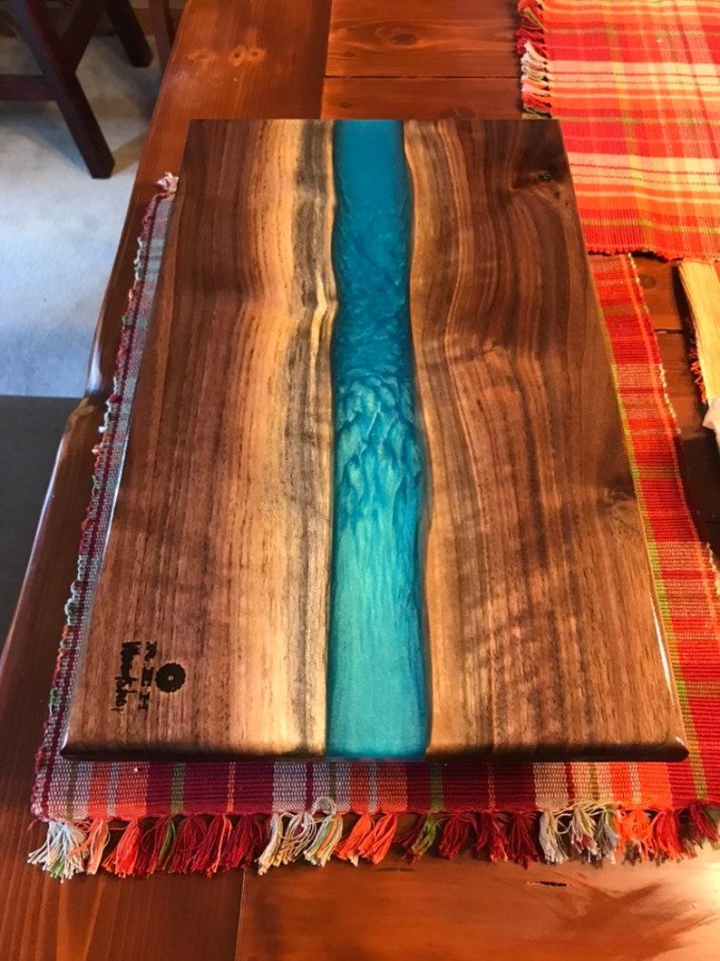 Walnut Charcuterie Board Handmade Turquoise Epoxy River Cutting Board Blue Green Resin Serving Tray