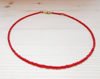 Red Seed Bead Choker Custom Choker Small Red Bead Choker Customizable Choker Under 10 104RED