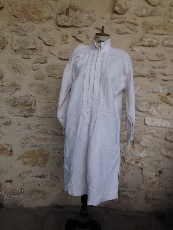 Antique french peasant hemp smock shirt