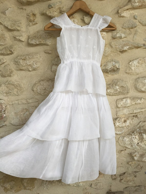Vintage Child's organza tiered dress