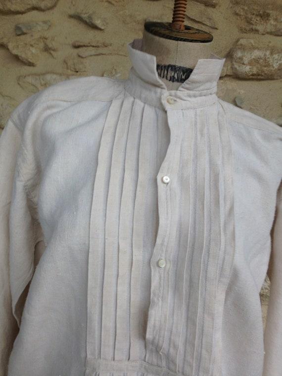 Antique rough linen shirt - image 3