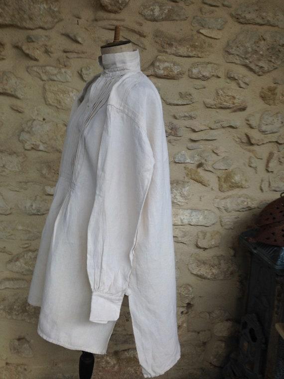 Antique rough linen shirt - image 4