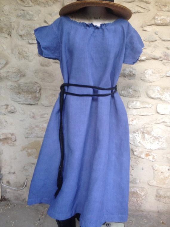 Antique French blue linen shift