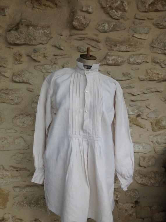 Antique rough linen shirt - image 2