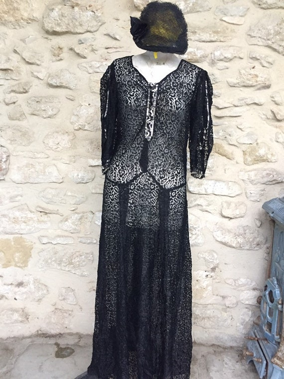 Antique French 1930's evening dress