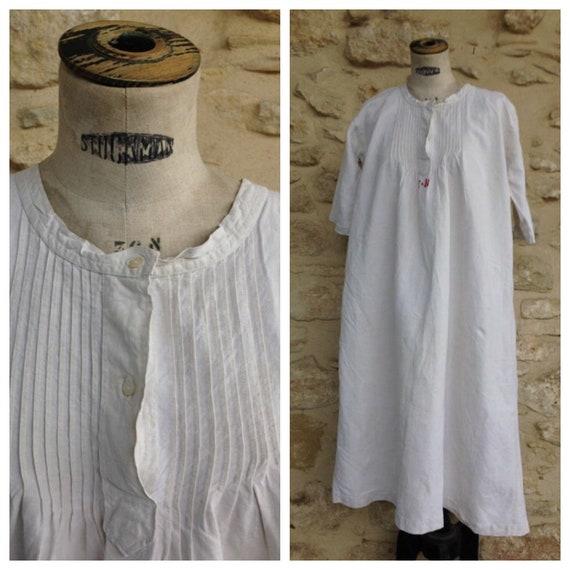 Antique french linen shift dress
