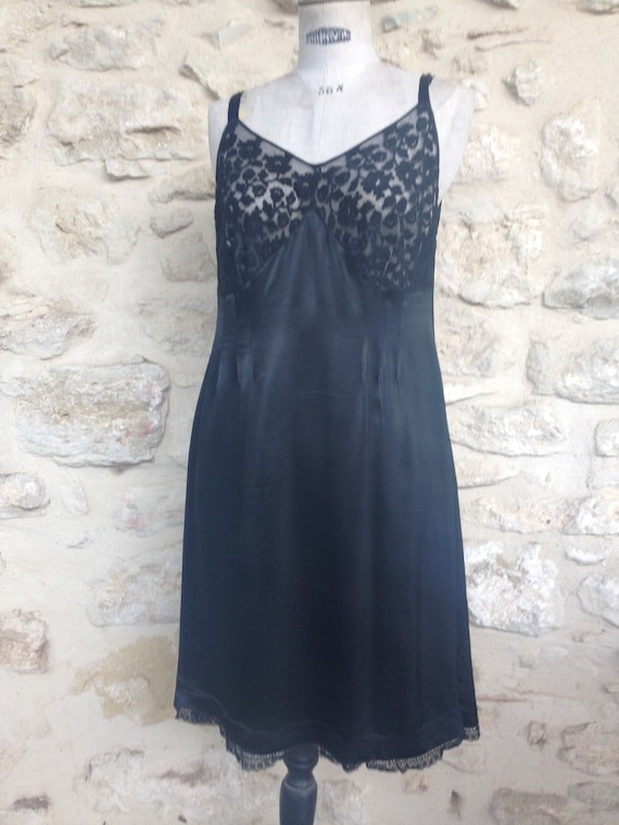 Vintage black satin  lace slip