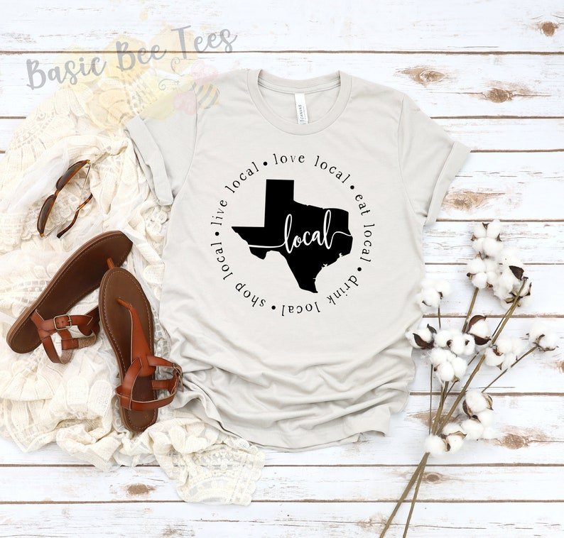 Shop Small Funny Graphic Shirt Fall Shirt Shop Local Christmas Gift Texas Shirt Support Small Business Women/'s Graphic Tee