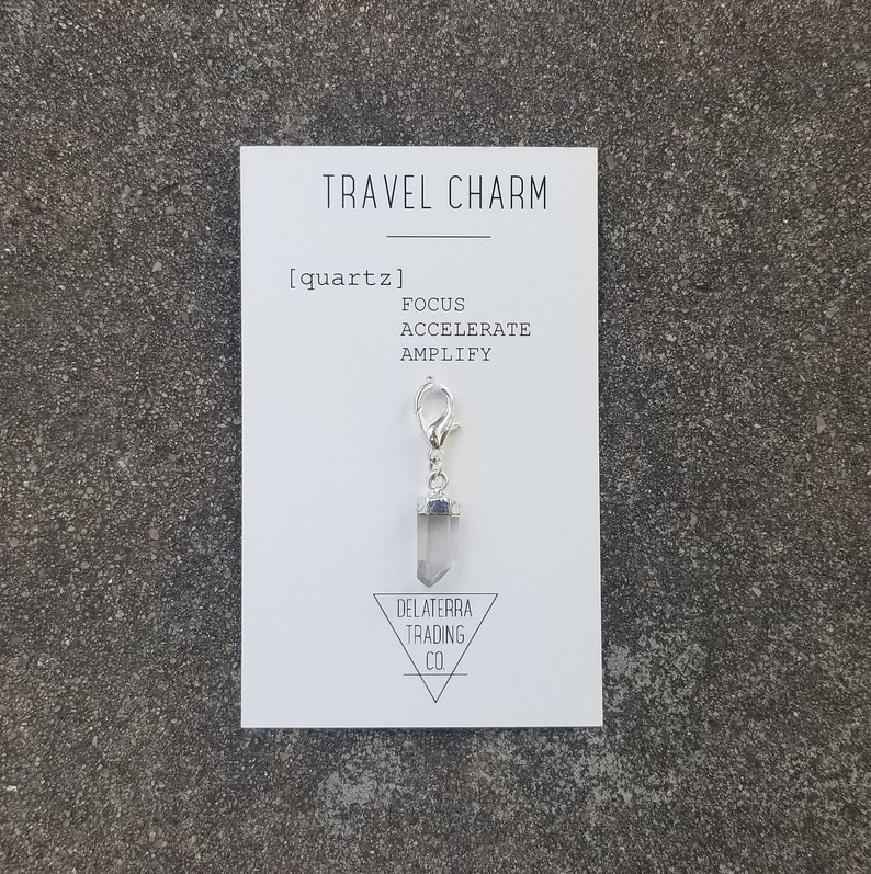 Travel Charm  Clear Quartz  Gift Mini Zipper Keychain  Silver Plated CapLobster Claw Clasp Charm 2cm long 1cm wide  Protection Charm