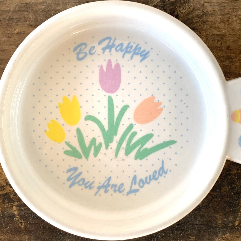 Be Happy You Are Loved coaster teabag holder pastel tulips flowers