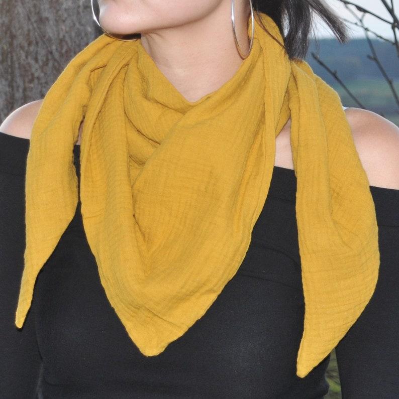 Organic muslin neck scarf double-layered mustard yellow