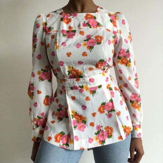 Floral print smock blouse / floral blouse / boho b
