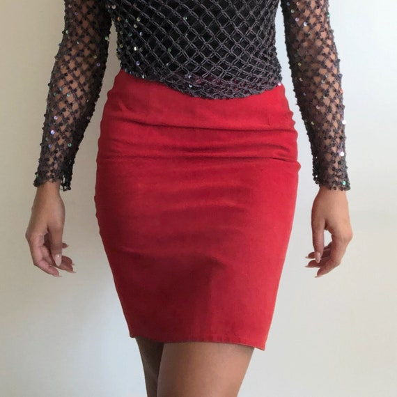 Vintage red suede skirt, 80's pencil skirt, Suede