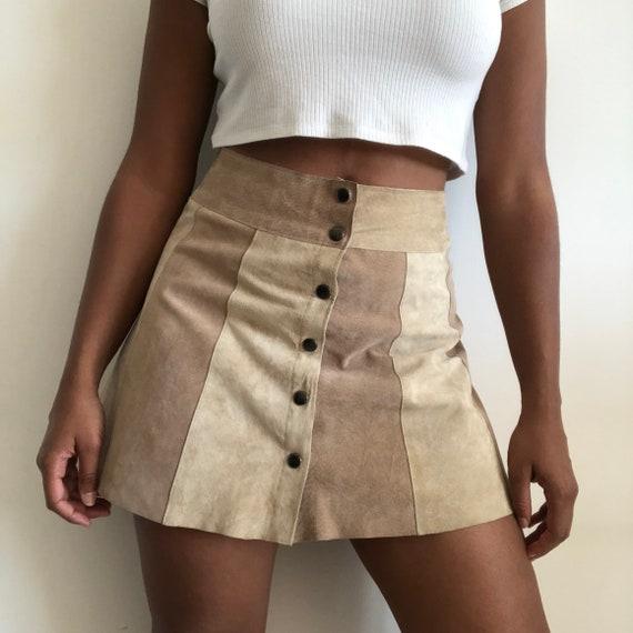 Vintage suede patchwork skirt, Suede beige skirt,