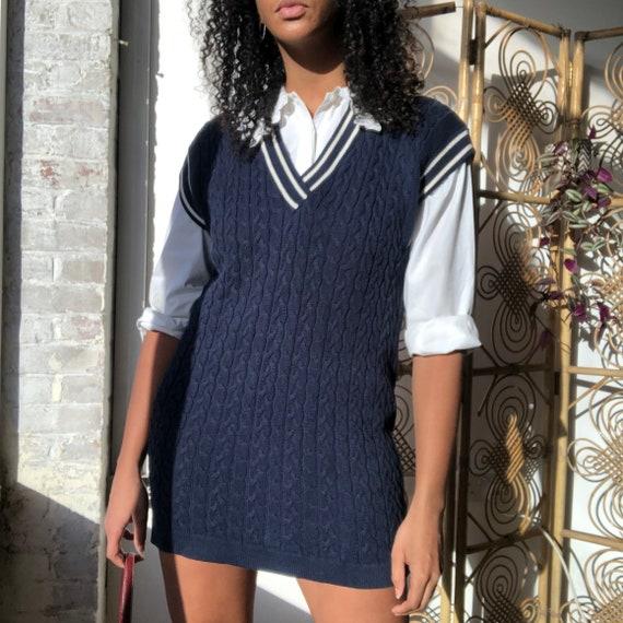 Vintage sleeveless jumper dress in Navy. Sleeveles