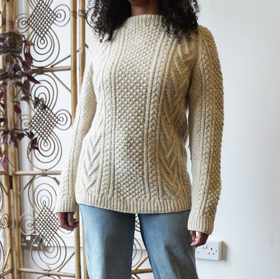 Vintage Aran knit jumper in Cream. Wool cable knit
