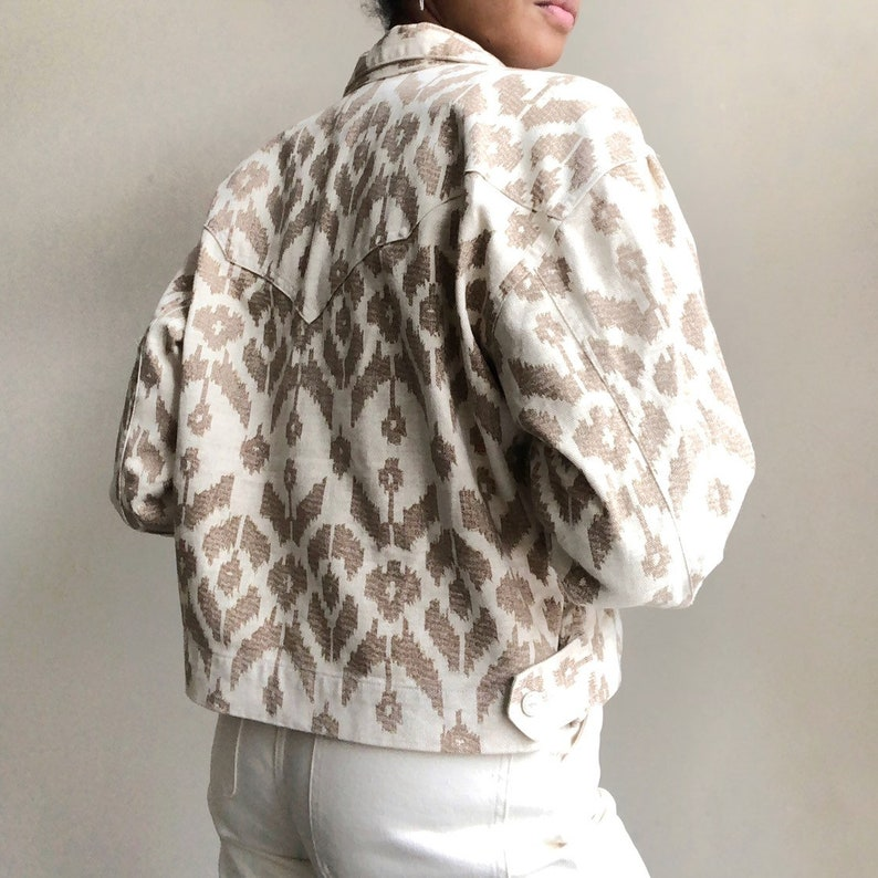 Vintage denim jacket  cream denim jacket  aztec print jacket