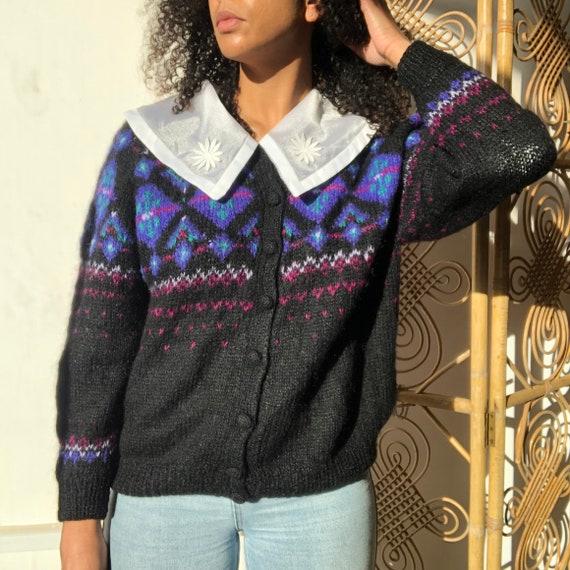 Vintage 80s fair isle knit cardigan. 80's mohair b