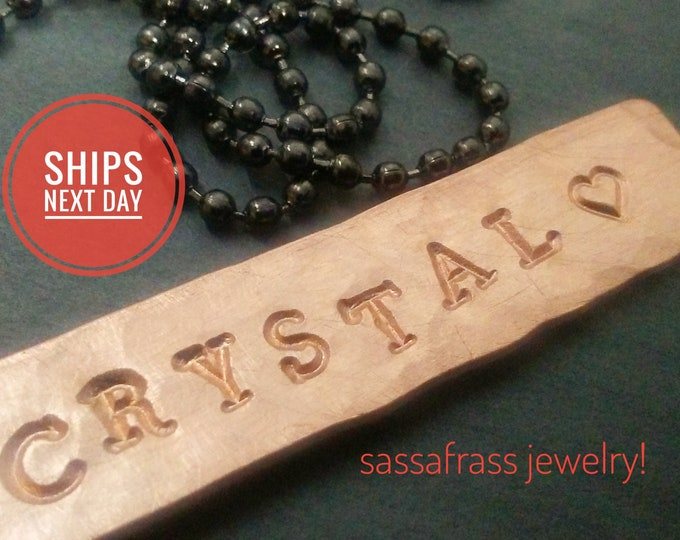 Featured listing image: Hammered Copper Name Necklace!