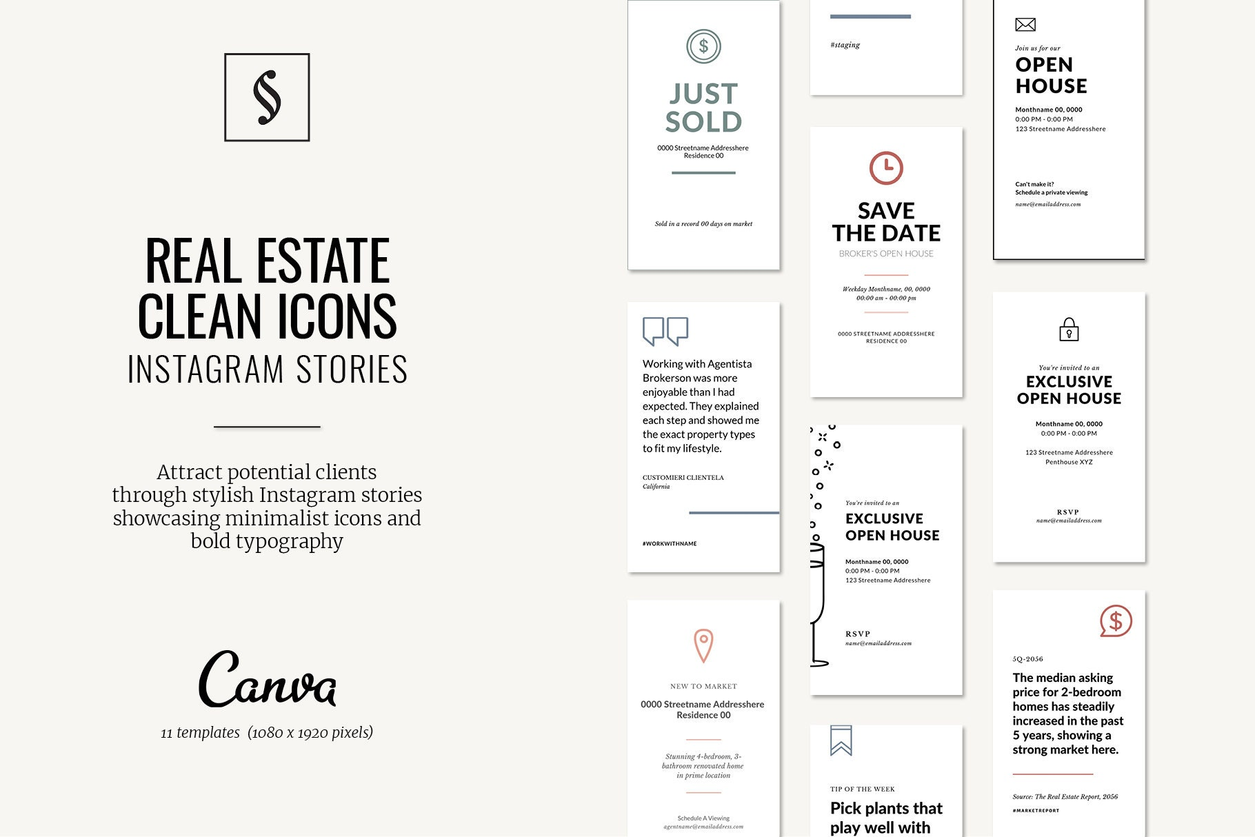 Instagram Stories Template for Real Estate in Canva Format (Icons)