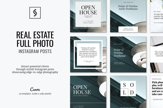 Real Estate Social Media Template Instagram Post Canva Full Etsy