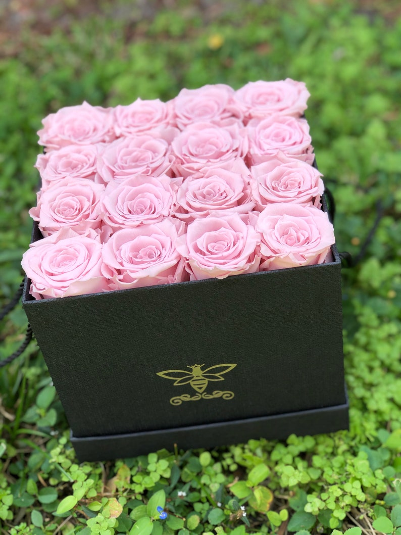 Preserved Rose Arrangement in a Textured White or Black Square Gift Box Available in 3 Sizes