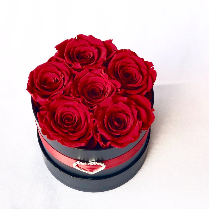 Rose Gift Box Preserved Medium Roses in a Round Box
