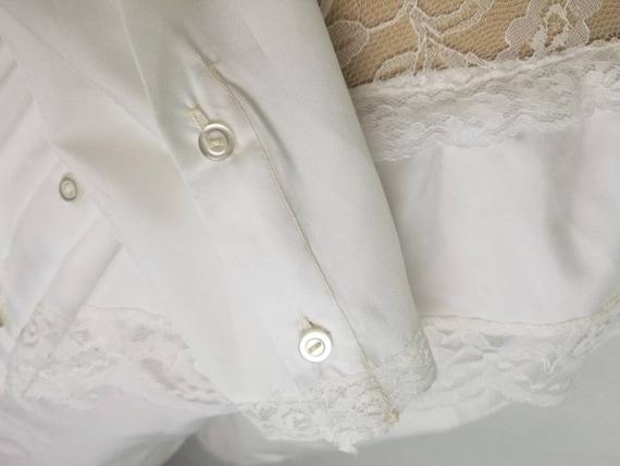 80s Victorian Edwardian blouse white medium 40 - image 8