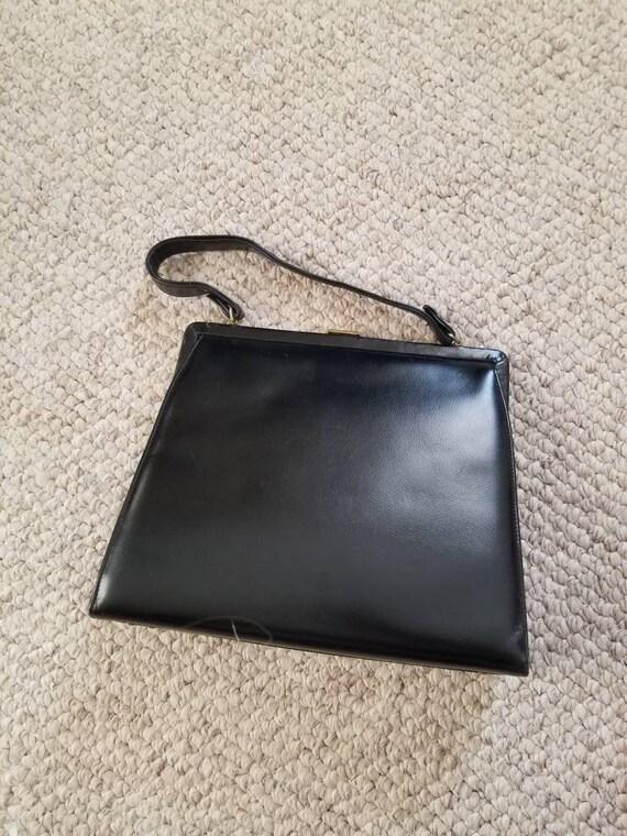 50s 60s purse, CL monogram, black, top handle bag - image 5