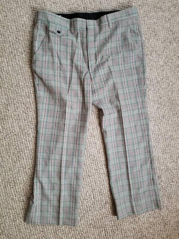 70s pants, mens plaid green brown 40x27 - image 2