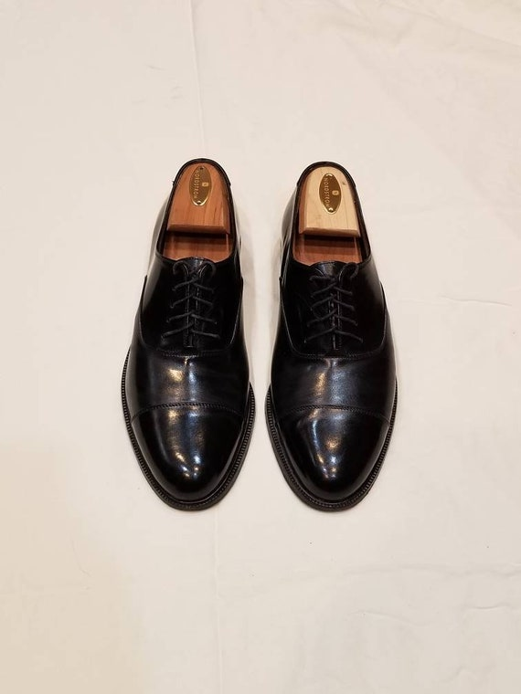 9 Ferragamo black cap toe oxfords leather mens