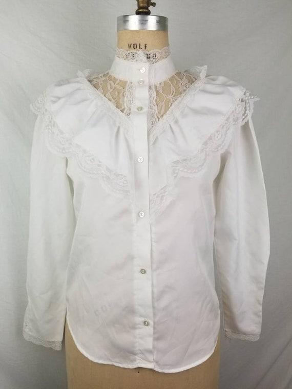 80s Victorian Edwardian blouse white medium 40 - image 2