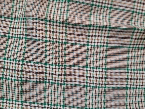 70s pants, mens plaid green brown 40x27 - image 4