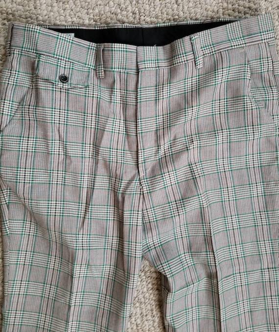 70s pants, mens plaid green brown 40x27 - image 6