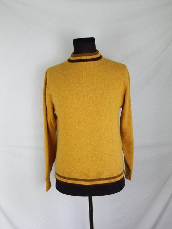 40s sweater, gold color wool, large