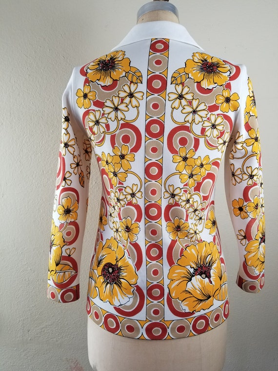 70s floral button up top polyester 38, butterfly … - image 5