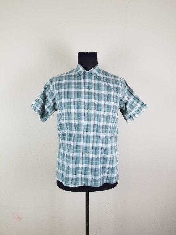 50s shirt, mens plaid, medium cotton
