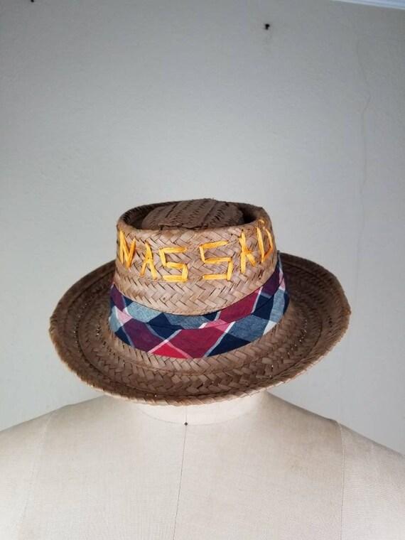 Pork pie vintage hat, straw mens fedora NASSAU Bah