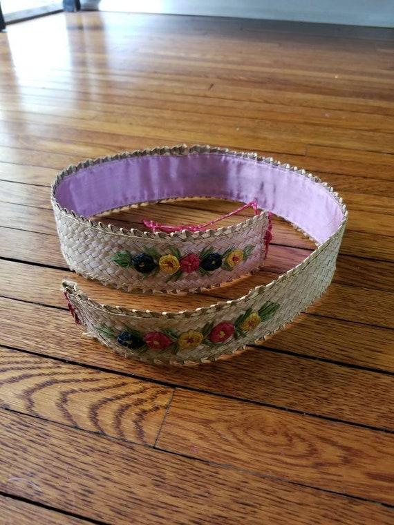 30s-40s belt, ladies straw woven belt, embroidered