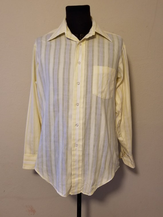 Vintage-1970/'s Oil Slick Shirt with Butterfly Collar-Size Medium