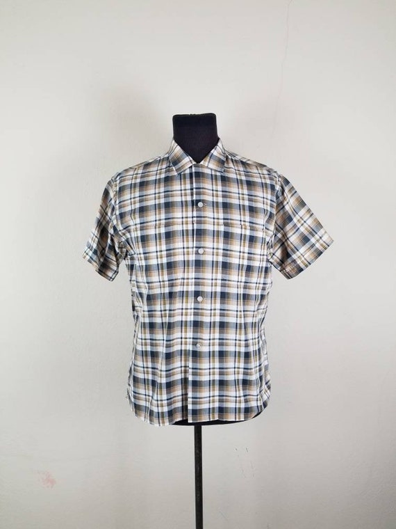 50s shirt, mens plaid cotton, large