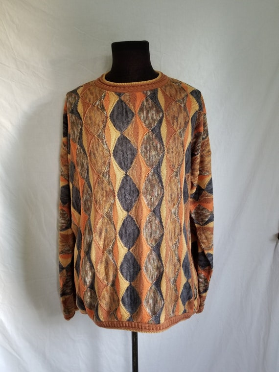 Mens 90s Coogi style sweater XL earth tones