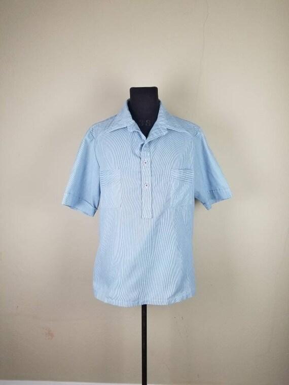 70s mens leisure suit, blue white pinstripe stripe