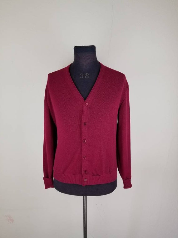 50s cardigan, maroon mens, large acrylic 1950s swe