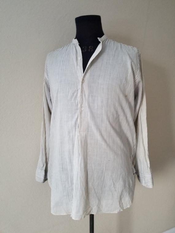 Antique mens collarless shirt, Victorian, 16 x 33,