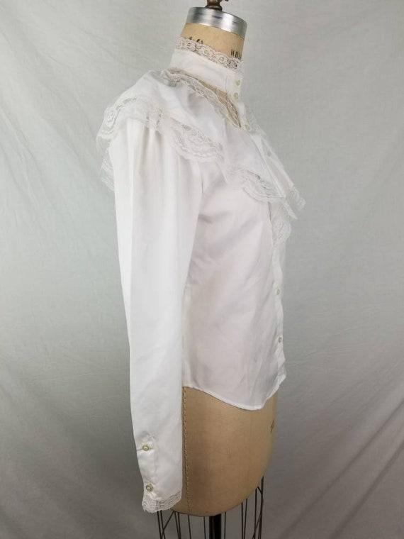 80s Victorian Edwardian blouse white medium 40 - image 6