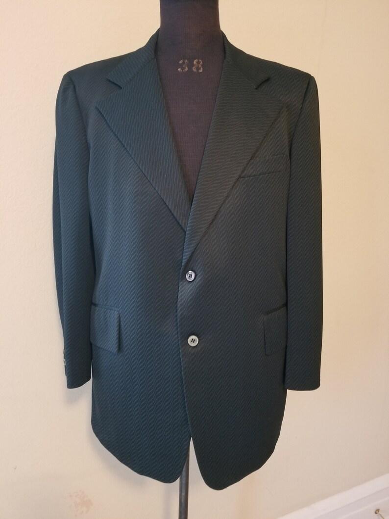 blue green wave pattern 46 chest 44L 60s mens blazer